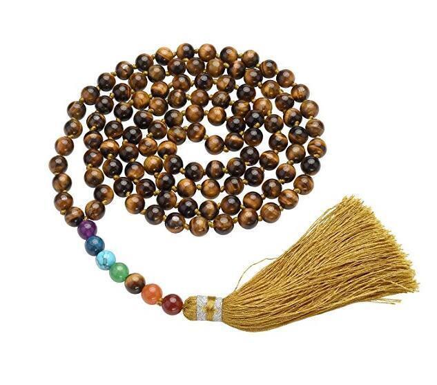 Tiger Eye Stone 7 Chakra Mala Beads 108 Healing Gemstone Men Bracelet Necklace Ebay