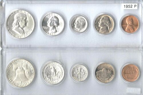 1952-P US Silver mint set 5 Choice BU coins in a  Whitman plastic holder