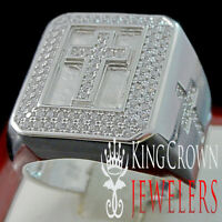 Big Bold Mens Real Silver Holy Cross White Gold Finish Lab Diamond Ring Band