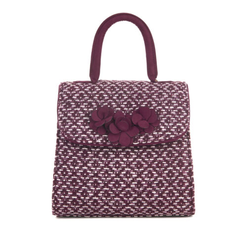 Ruby Shoo Tweed Bari Bag with Shoulder Strap Burgundy Petra