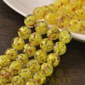 Hot-5pcs-12mm-Lampwork-Glass-Dots-Loose-Spacer-Round-Beads-Charms-Yellow
