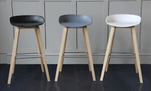 the latest d5b33 bb1e5 Details about Scandinavian Nordic Bar Stool Contemporary Kitchen counter -  in Black or White