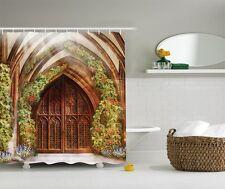 Rustic Castle Door Graphic Shower Curtain Antique Arch Floral Gate Bath Curtain
