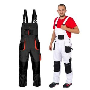 New-Bib-and-Brace-Overalls-Mens-WORK-TROUSERS-Dungarees-Knee-Pad-Grey-or-White