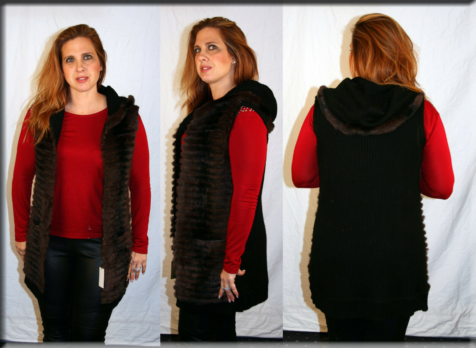 New Hooded Vest with Rabbit Fur Trim Available in Sizes Small Medium Large