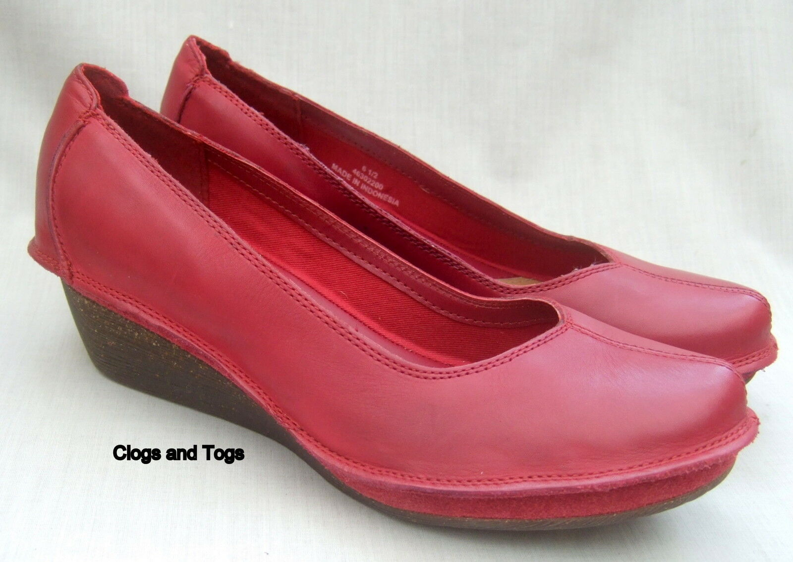 NEW CLARKS FOREST FIG RED LEATHER SHOES