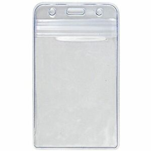 1 Vertical ID Cards Heavy Duty Clear Plastic Badge Holder School - Made in USA!
