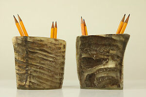 Set-of-2-Pencil-Stands-Carl-Aubock-Vienna-1950-039-s-Water-Buffalo-Horn