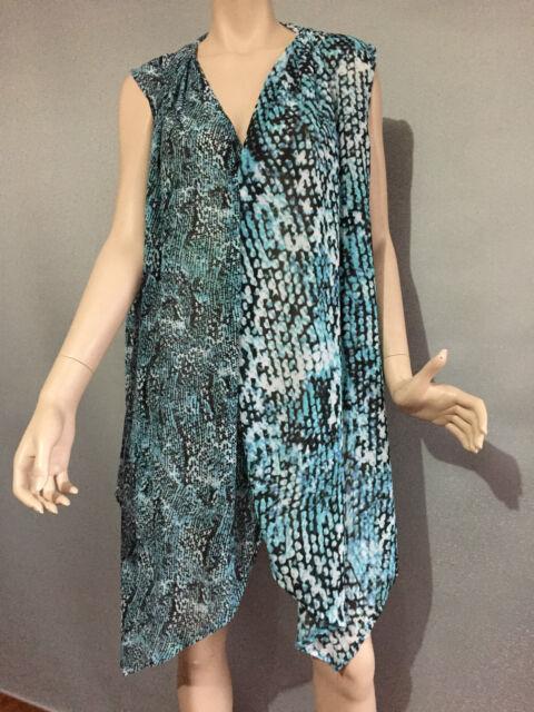 BNWT Womens Sz 20 Autograph Floaty Aqua Print Sleeveless Drape Tunic Top RRP $70