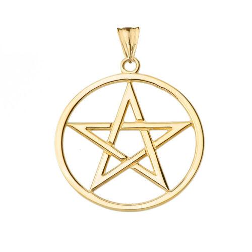 Solid 14k Yellow Gold Pentagram  Pendant Necklace