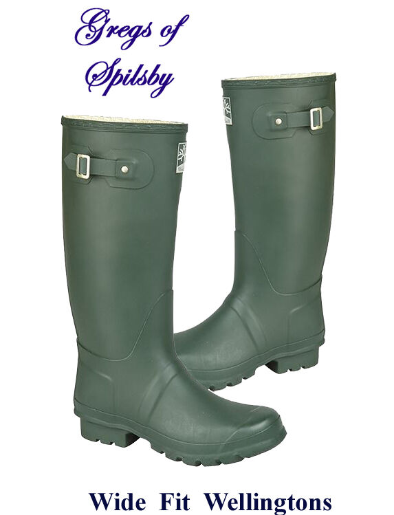 Ladies or Mens Wide Fit Rubber Field Boots, Wellingtons in Dark Green Sizes 3-15