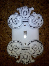 Metal Single Switch Plate Cover, Hand Made, French Country, Shabby, Chic, White