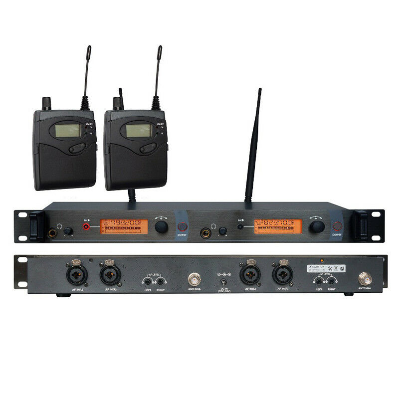 UHF Wireless Audio In ear Monitor System Dual Channels Transmitter + 2 Receivers