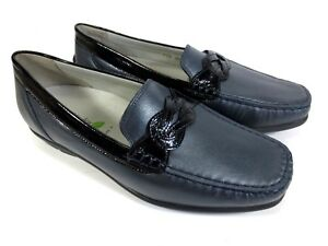 Details zu WALDLÄUFER Harriet Leder Schuhe Mokassins Slipper blau Gr. 37,5 UK 4,5 H 145