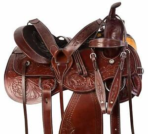 Premium-Leather-Western-Barrel-Racing-Horse-Saddle-Tack-Size-14-to-18-Inch-Seat