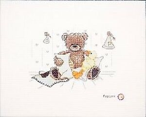Time For A Snooze Popcorn Teddy Bear Counted Cross Stitch Kit