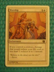 1x Worship, LP-MP, 8th Edition, EDH Commander Damage 1 Enchantment White Rare