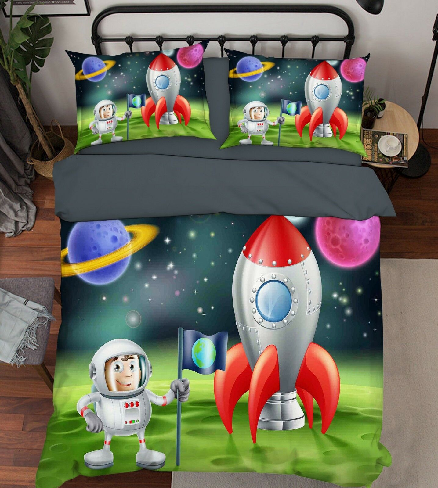 3D Astronaut 307 Bett Kissenbezüge steppen Duvet Decken Set Single Königin DE