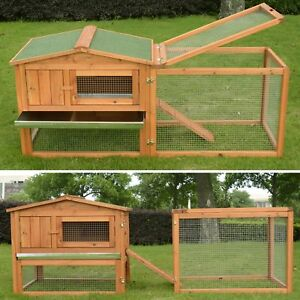 Wooden Rabbit Hutch Bunny Cage Chicken Coop Guinea Pig House Pet Supply