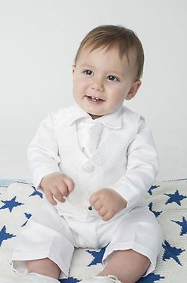 Abile Baby Boys 4 Pezzi Vestito Battesimo / Battesimo Suit Check Bianco-mostra Il Titolo Originale