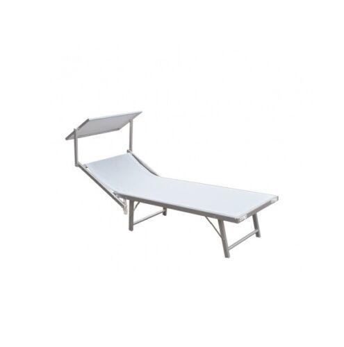 Lettino Mare Alluminio Bianco 183x59x36H cm Copertura Textilene