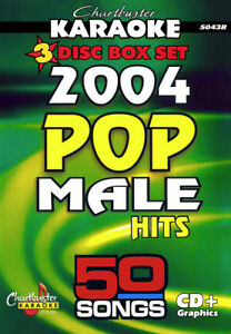 Chartbuster Cbg5043 2004 Male Pop Hits, 50 Karaoke Chansons Sur 3 Cdg's-afficher Le Titre D'origine