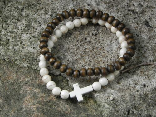 2 x Mens Surfer style Religious style Ivory Cross and Wooden bead Bracelets