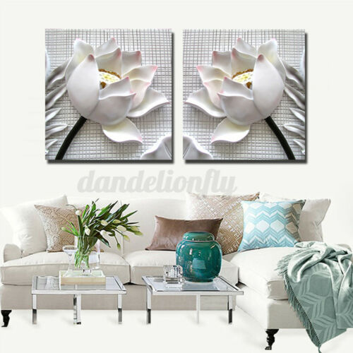 2PCS White Rose Flower Wall Art Prints Canvas Painting Pictures Artwork Decor w