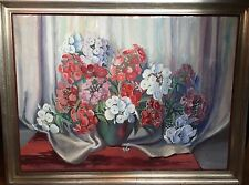 Mid Century Large Water Color Flowers Painting Artist Signed Impressionist