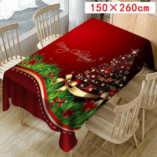 Christmas Tablecloth Print Rectangle Table Cover Holiday Party Home Decor USA
