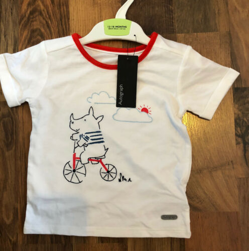 M/&S Boys White Rhino Design T-Shirt Age 12–18 Months BNWL