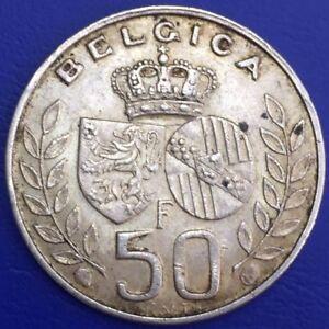 Belgique-50-Francs-Baudouin-Mariage-Du-Roi-Argent-1469