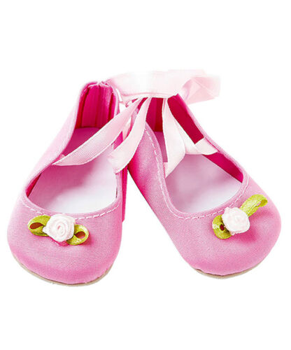PRETTY PINK BALLET SHOES FOR DOLLS FROM DESIGNER FRILLY LILY CHOOSE YOUR SIZE !