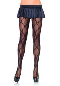 Leg-Avenue-Black-Bow-Lace-Tights-Pantyhose-Fashion-Hosiery