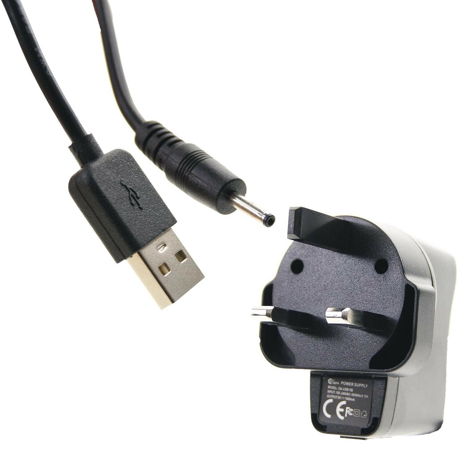 USB to 2.5 x 0.7mm Barrel Jack Male DC 5V 1.5m Power Charger Cable Lead + Plug