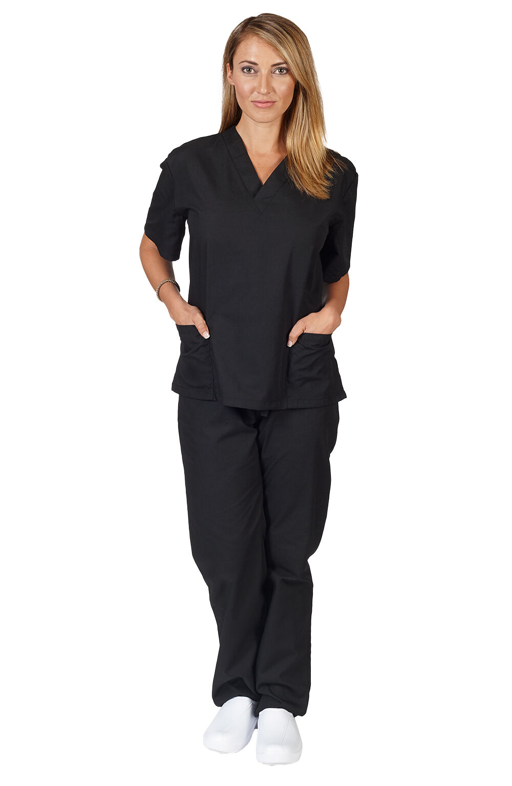 d67f22cfe68 Unisex Medical Nursing Uniform 2 Pocket Clinic Hospital Scrubs Top ...