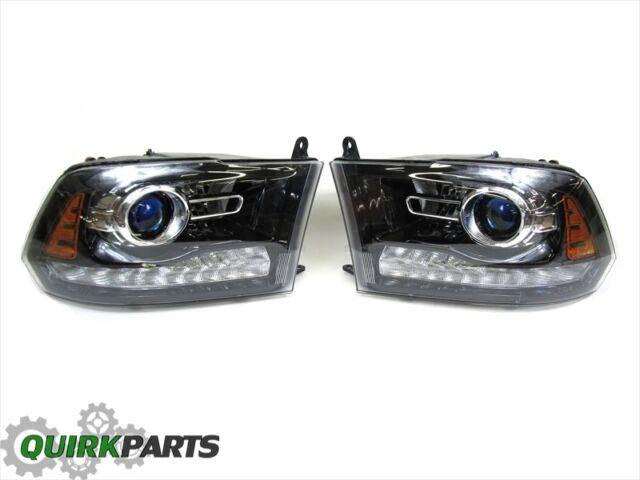 13-15 Dodge Ram 1500 Driver & Passenger BLACK Projector Headlights MOPAR OEM NEW