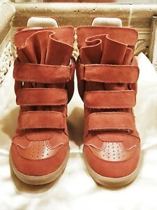 8cd54a3a77c5 655 NWT ISABEL MARANT BEKETT SUEDE LEATHER CORAL WEDGE SNEAKER Sz ...