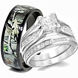 His TITANIUM Camo Amp Hers STERLING SILVER Wedding Rings Set Camouflage Black 3pcs