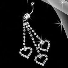 Clear CZ Gem Rhinestone Triple Heart Dangle Belly Navel Ring Body Jewelry