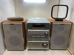SONY CMT-EP707 Radio Speakers CD and Cassette Player Recorder With Remote Tested