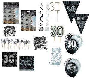 Deko 30 Geburtstag Schwarz Silber Partydekoration Girlanden