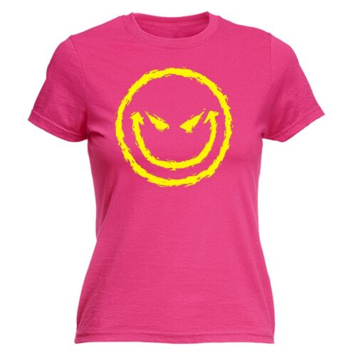 Evil Smiling Face WOMENS T-SHIRT Bad Mean Cool Smile Funny Present birthday gift