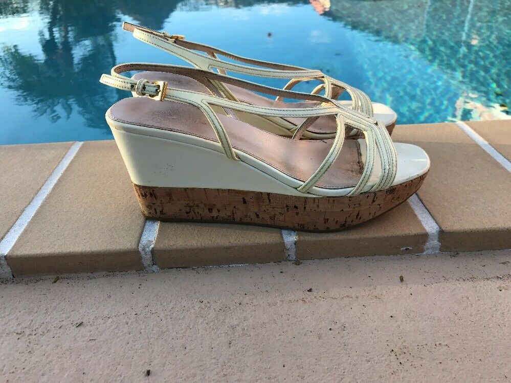 PRADA CREAM COLOR PATENT LEATHER CORK WEDGE PLATFORM PUMPS Sz 37.5 MADE IN ITALY