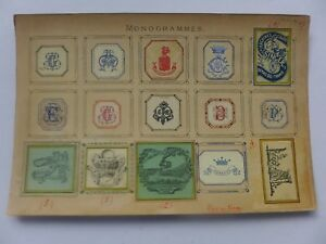 Ex-libris-ancien-Monogrammes-Armoiries-colles-sur-carton-LIBRAIRES