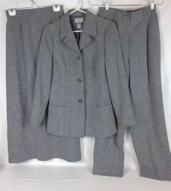 3 Piece Nordstrom Womens Lined Long Skirt Pants Suit Gray Jacket
