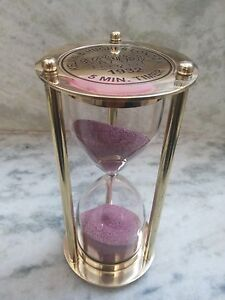 Antique Brass Sand Timer 15 minutes Maritime Vintage Collectible Hourglass