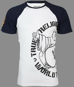 638b636c4c5 TRUE RELIGION Mens T-Shirt PART BUDDHA RAGLAN White Navy Sleeves  79 ...