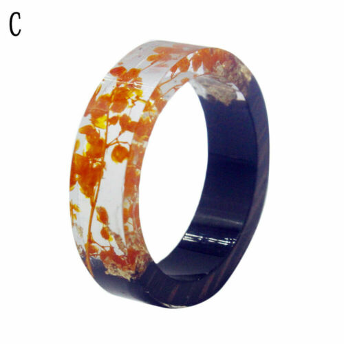 Creative Wooden Resin Rings Finger Flower Plants Inside Novelty Fashion Jewelry