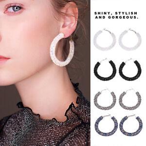 Fashion Women s Big Hoop Earrings Large Loop Ear Rings Crystal ... 0490841b8a2d